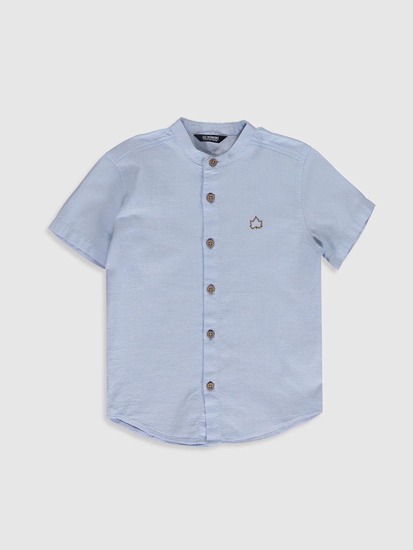 Mavi Erkek Çocuk Kısa Kollu Armürlü Gömlek 0S7478Z4 LC Waikiki