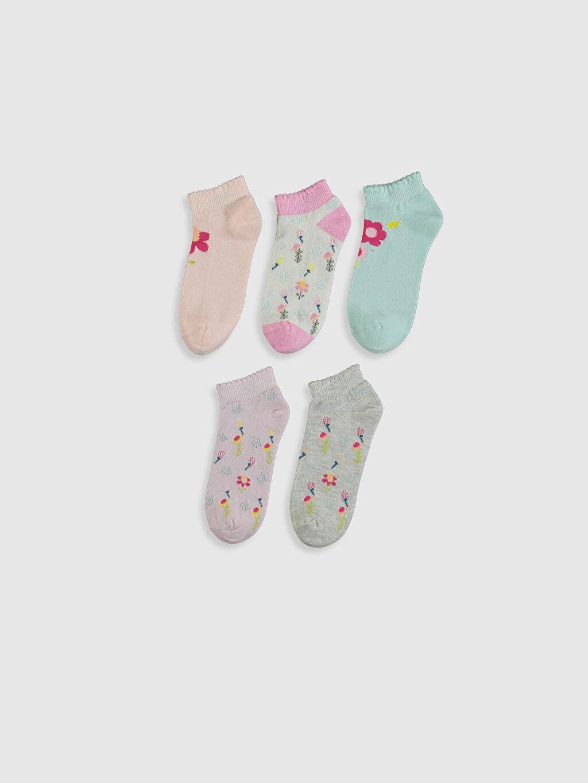 %76 Pamuk %22 Poliamid %2 Elastan  Kız Çocuk Patik Çorap 5'li
