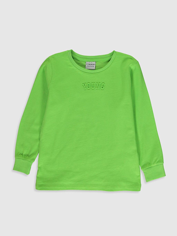 Yeşil Erkek Çocuk Pamuklu Uzun Kollu Tişört 0S7539Z4 LC Waikiki