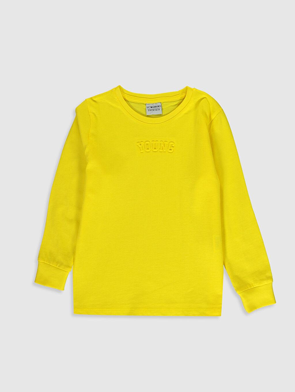 Sarı Erkek Çocuk Pamuklu Uzun Kollu Tişört 0S7539Z4 LC Waikiki