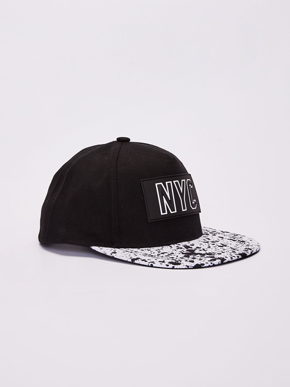 Siyah Erkek Çocuk Yazı Detaylı Hip Hop Şapka 0S7630Z4 LC Waikiki