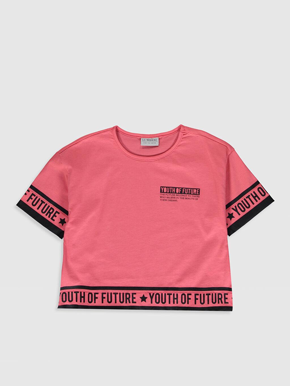 Mercan Kız Çocuk Baskılı Pamuklu Tişört 0S7646Z4 LC Waikiki