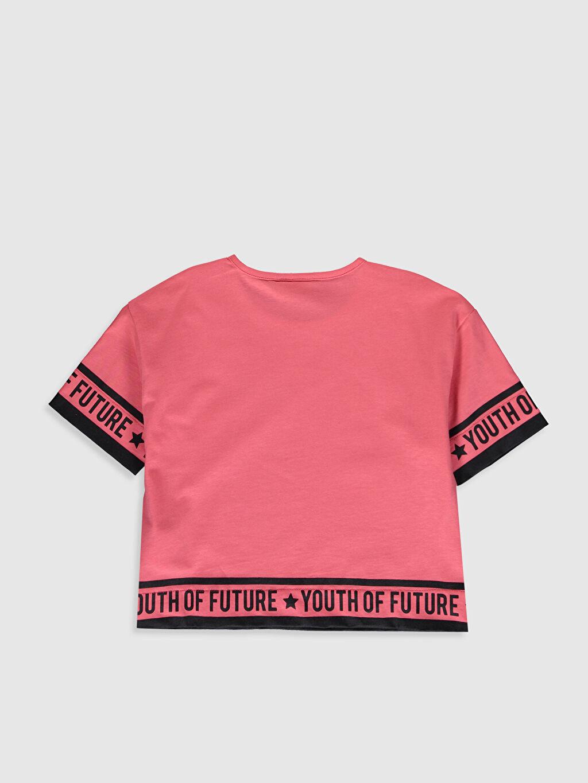 %100 Pamuk Baskılı Tişört Bisiklet Yaka Kısa Kol Standart Kız Çocuk Baskılı Pamuklu Tişört
