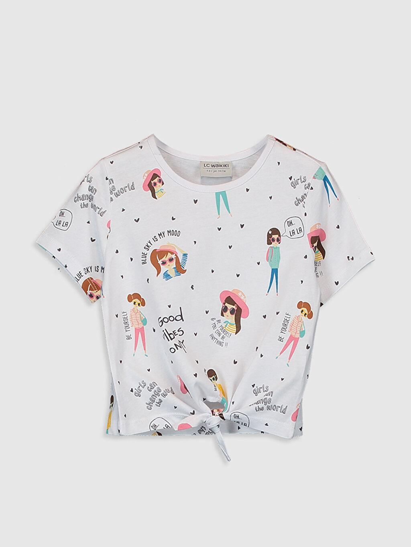 Beyaz Kız Çocuk Baskılı Pamuklu Tişört 0S7655Z4 LC Waikiki