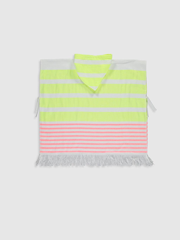 %85 Pamuk %15 Polyester  Kız Çocuk Çizgili Panço Havlu