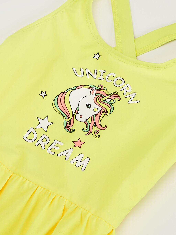 Kız Çocuk Kız Çocuk Unicorn Baskılı Etekli Mayo