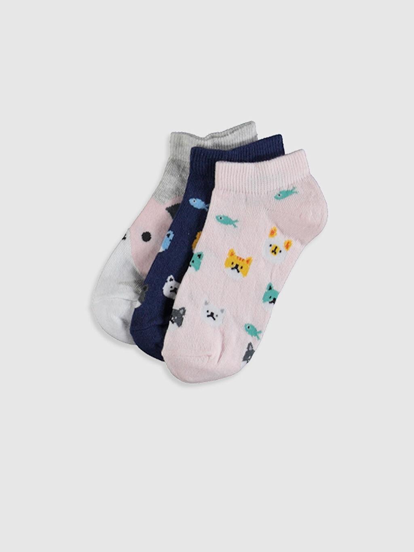 Gri Kız Çocuk Patik Çorap 3'lü 0S8243Z4 LC Waikiki