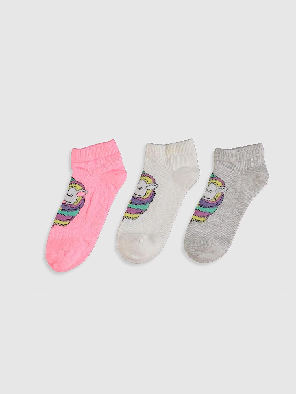 %65 Pamuk %33 Poliamid %2 Elastan  Kız Çocuk Unicorn Desenli Patik Çorap 3'lü