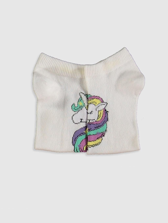 Kız Çocuk Kız Çocuk Unicorn Desenli Patik Çorap 3'lü