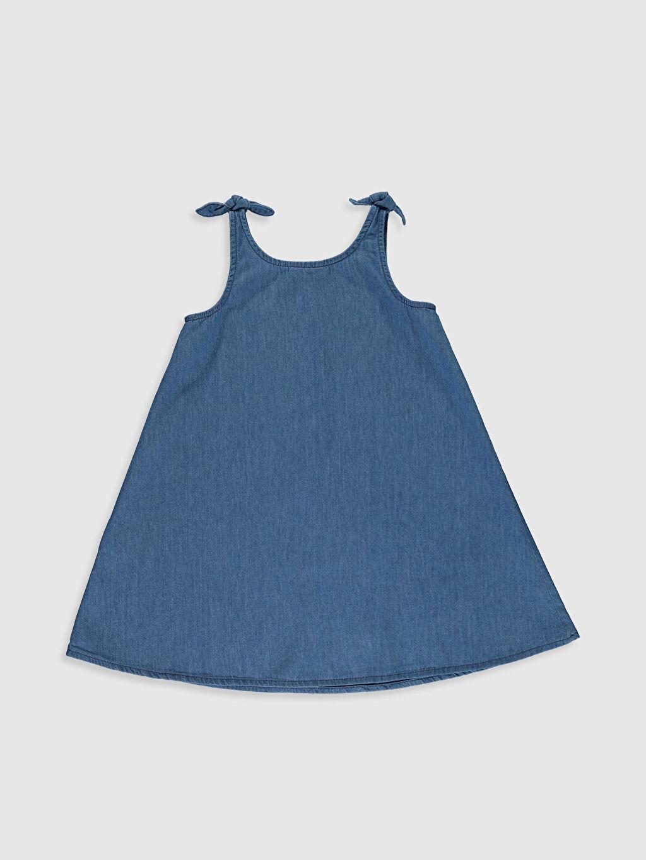 %100 Pamuk Diz Üstü Düz Kız Çocuk Jean Elbise