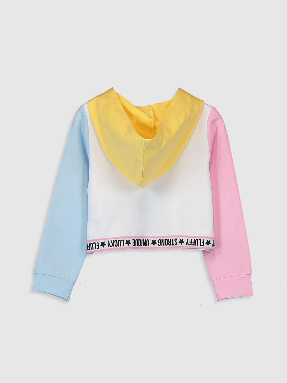 %100 Pamuk  Kız Çocuk Yazı Baskılı Kapüşonlu Sweatshirt