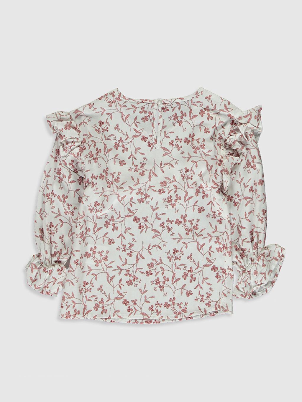 %100 Viskoz Standart Desenli Uzun Kol Bluz Kız Çocuk Çiçekli Fırfırlı Viskon Bluz