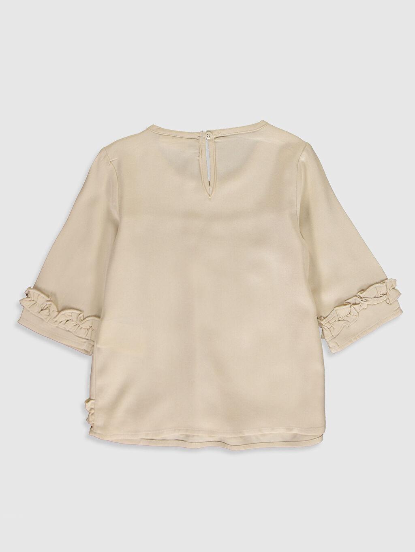 %100 Viskoz Standart Düz Bluz Kız Çocuk Fırfırlı Viskon Bluz