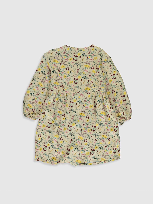 %100 Viskoz Diz Üstü Desenli Kız Çocuk Çiçekli Viskon Elbise