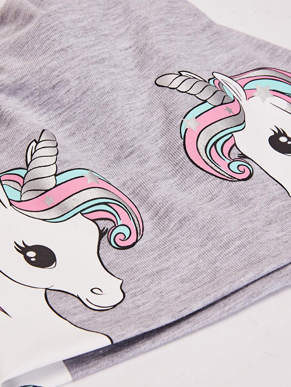 %48 Pamuk %48 Polyester %4 Elastan  Kız Çocuk Unicorn Baskılı Triko Bere
