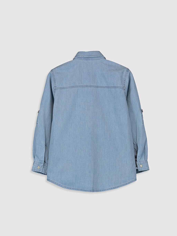 %100 Pamuk Standart Desenli Uzun Kol Erkek Çocuk Baskılı Jean Gömlek