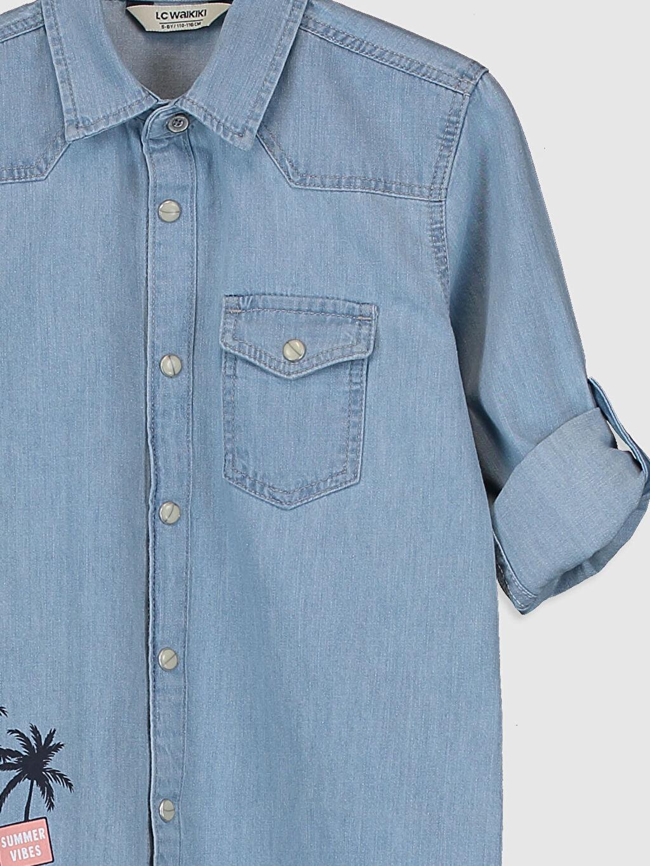 Erkek Çocuk Erkek Çocuk Baskılı Jean Gömlek
