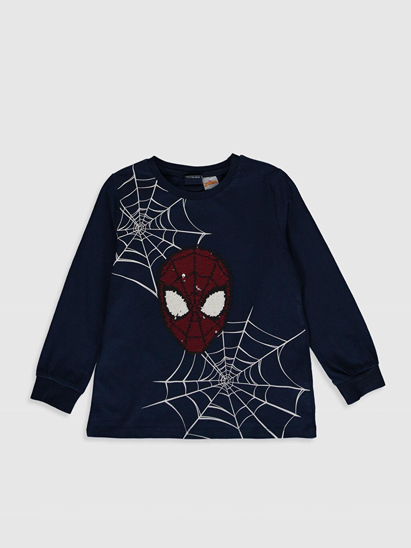 Lacivert Erkek Çocuk Spiderman Baskılı Pamuklu Tişört 0S9071Z4 LC Waikiki
