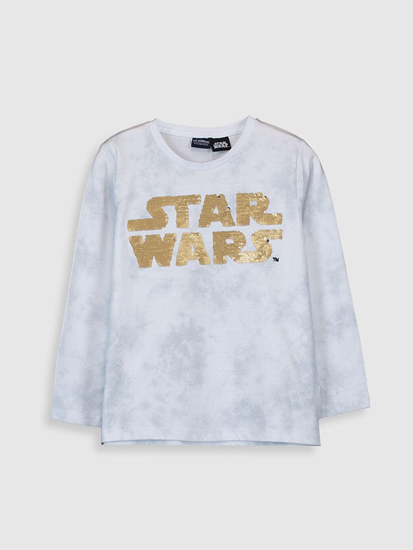 %100 Pamuk Normal Bisiklet Yaka Baskılı Tişört Uzun Kol Erkek Çocuk Star Wars Pamuklu Tişört