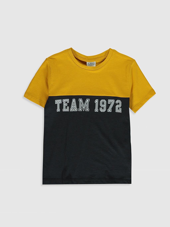 Sarı Erkek Çocuk Yazı Baskılı Basic Tişört 0S9140Z4 LC Waikiki
