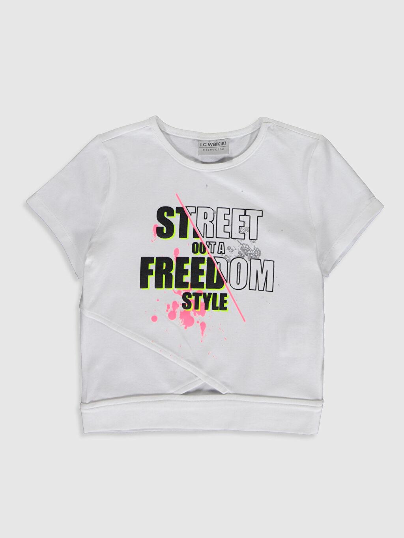 Beyaz Kız Çocuk Baskılı Pamuklu Tişört 0S9232Z4 LC Waikiki