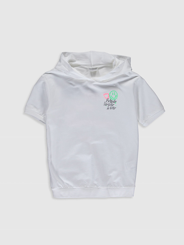Beyaz Kız Çocuk Kapüşonlu Pamuklu Tişört 0S9237Z4 LC Waikiki