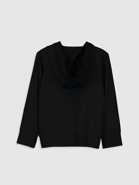 %81 Polyester %19 Elastan  Kız Çocuk Fermuarlı Kapüşonlu Sweatshirt