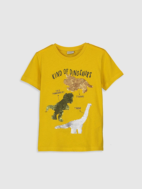 %100 Pamuk Normal Bisiklet Yaka Baskılı Tişört Kısa Kol Erkek Çocuk Çift Yönlü Payetli Pamuklu Tişört