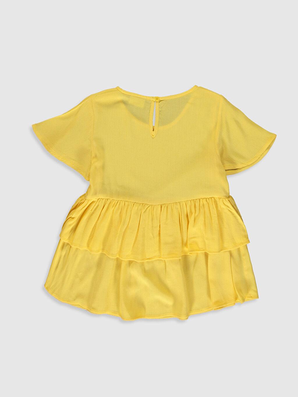 %100 Viskoz Standart Düz Kısa Kol Bluz Kız Çocuk Fırfırlı Viskon Bluz