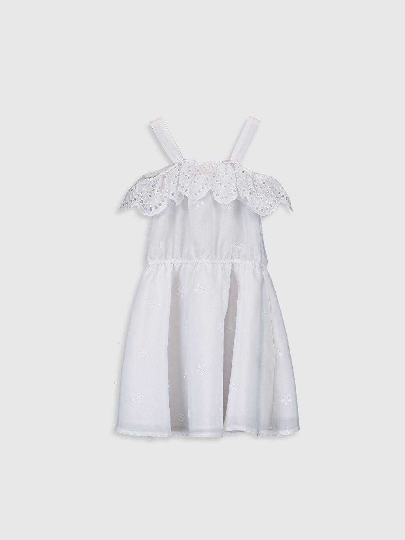Beyaz Kız Çocuk Fisto Detaylı Elbise 0S9285Z4 LC Waikiki