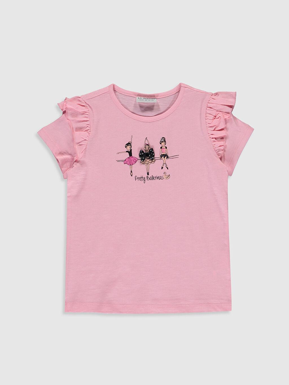 Pembe Kız Çocuk Baskılı Fırfırlı Tişört 0S9345Z4 LC Waikiki