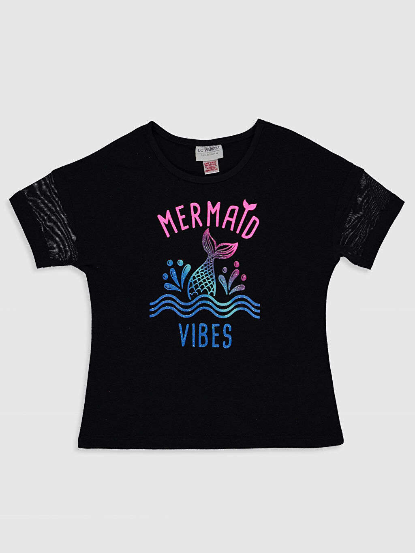 Siyah Kız Çocuk Baskılı Pamuklu Tişört 0S9350Z4 LC Waikiki