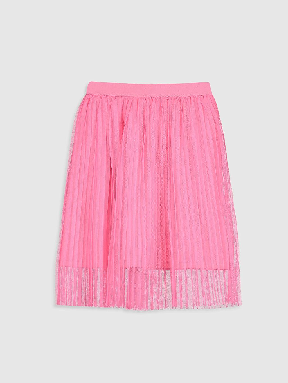 %100 Polyester %50 Pamuk %50 Polyester Diz Altı Düz Kız Çocuk Pileli Tül Etek