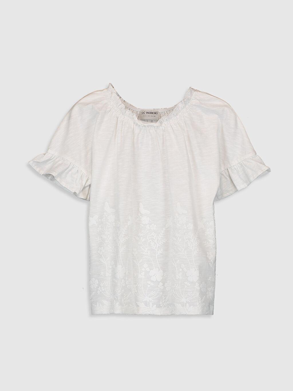 Beyaz Kız Çocuk Çiçekli Pamuklu Tişört 0S9390Z4 LC Waikiki