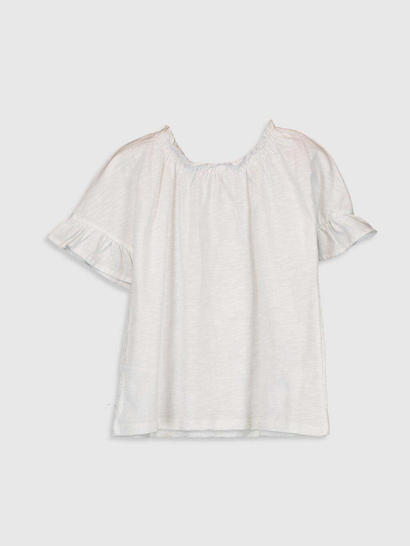 %100 Pamuk Standart Baskılı Tişört Bisiklet Yaka Kısa Kol Kız Çocuk Çiçekli Pamuklu Tişört