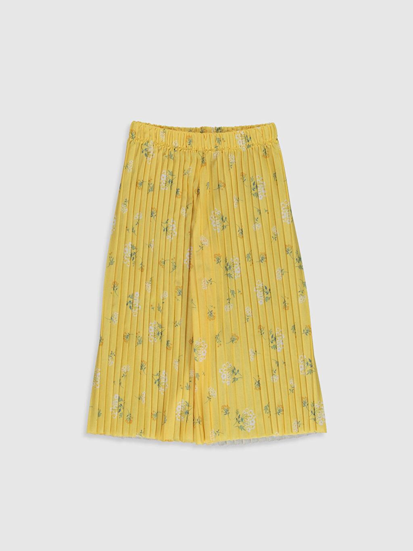 Sarı Kız Çocuk Pileli Pantolon 0S9395Z4 LC Waikiki