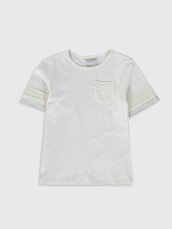 Ekru Kız Çocuk Pamuklu Basic Tişört 0S9525Z4 LC Waikiki