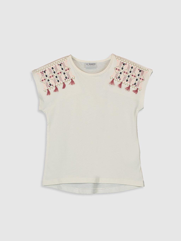 Ekru Kız Çocuk Baskılı Pamuklu Tişört 0S9527Z4 LC Waikiki