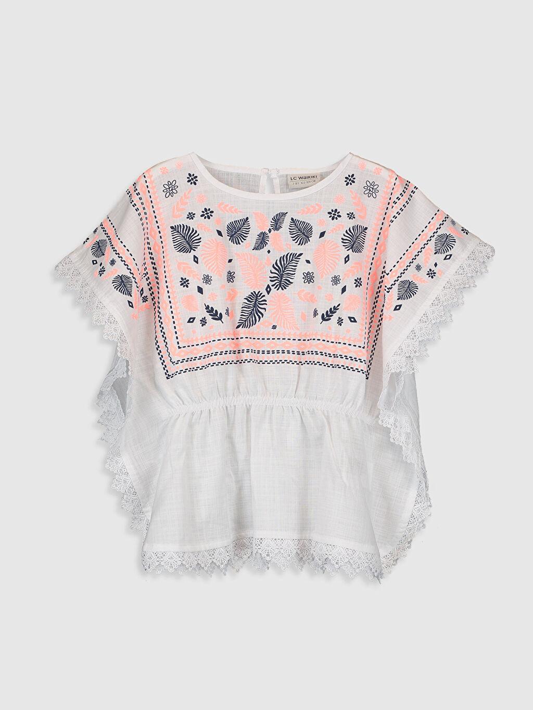 Beyaz Kız Çocuk Desenli Pamuklu Bluz 0S9550Z4 LC Waikiki