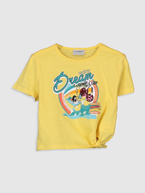 Sarı Kız Çocuk Baskılı Pamuklu Tişört 0S9557Z4 LC Waikiki