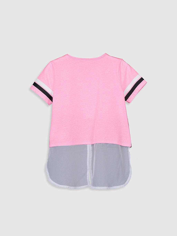 %52 Pamuk %48 Polyester Baskılı Tişört Bisiklet Yaka Kısa Kol Standart Kız Çocuk Yazı Baskılı Tişört