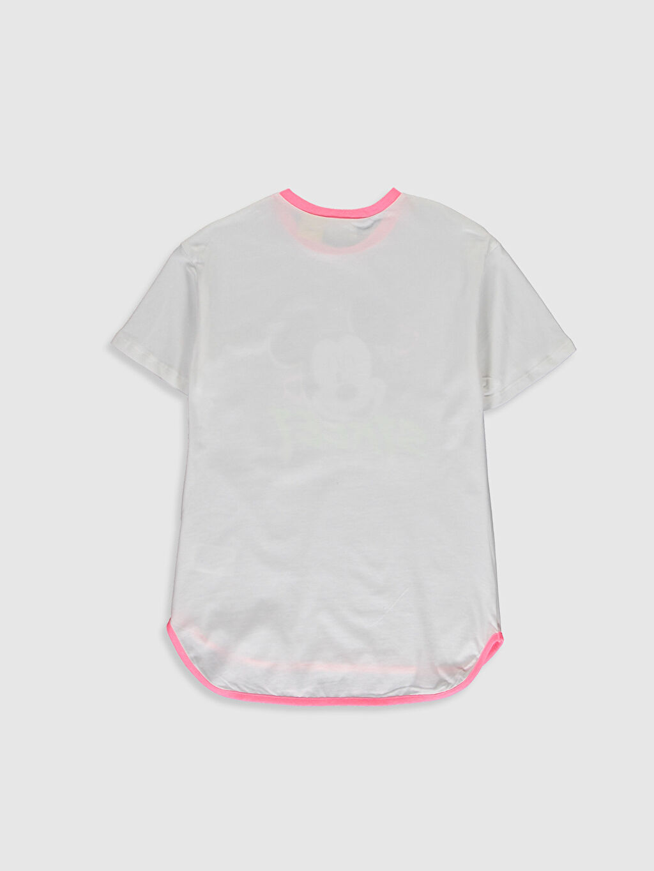 %100 Pamuk Baskılı Standart Kısa Kol Tişört Bisiklet Yaka Kız Çocuk Mickey Mouse Baskılı Pamuklu Tişört