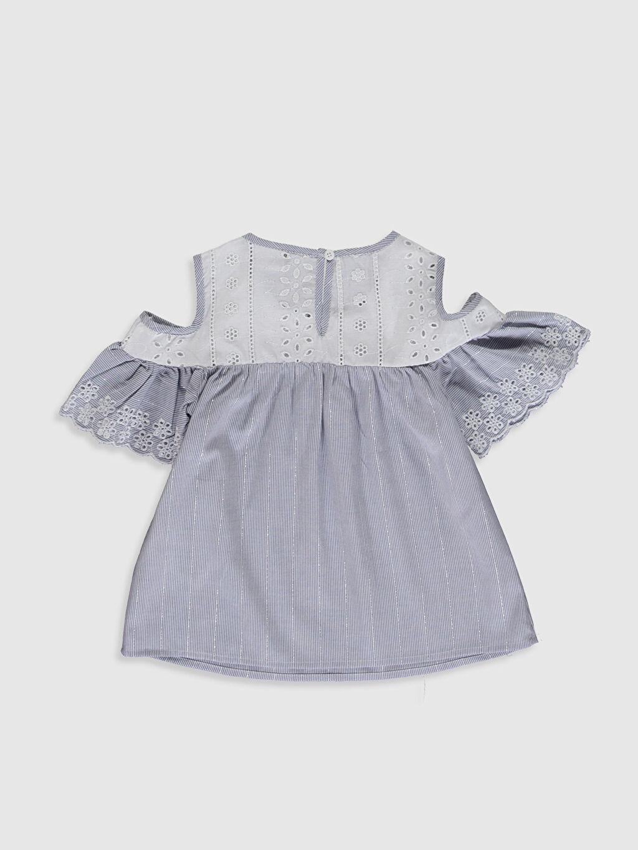 %98 Pamuk %1 Polyester %1 Metalik iplik Standart Düz Kısa Kol Bluz Kız Çocuk Omuzu Açık Bluz