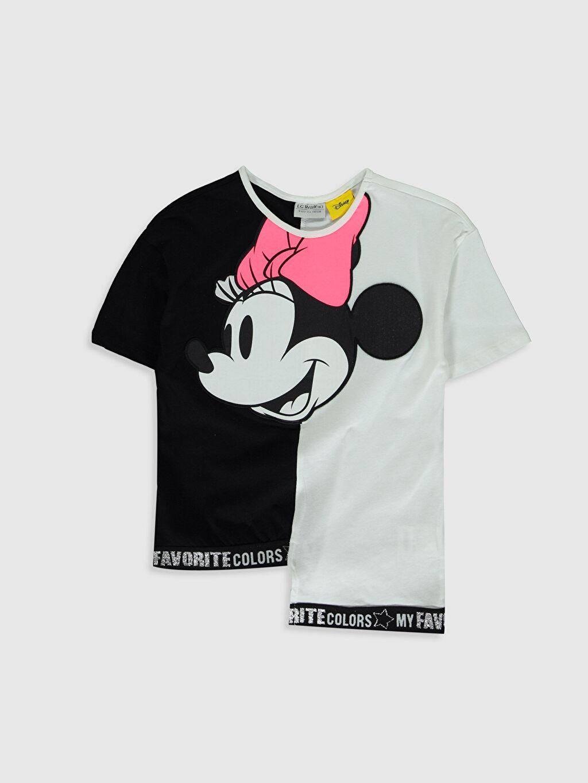 Beyaz Kız Çocuk Minnie Mouse Baskılı Pamuklu Tişört 0S9611Z4 LC Waikiki