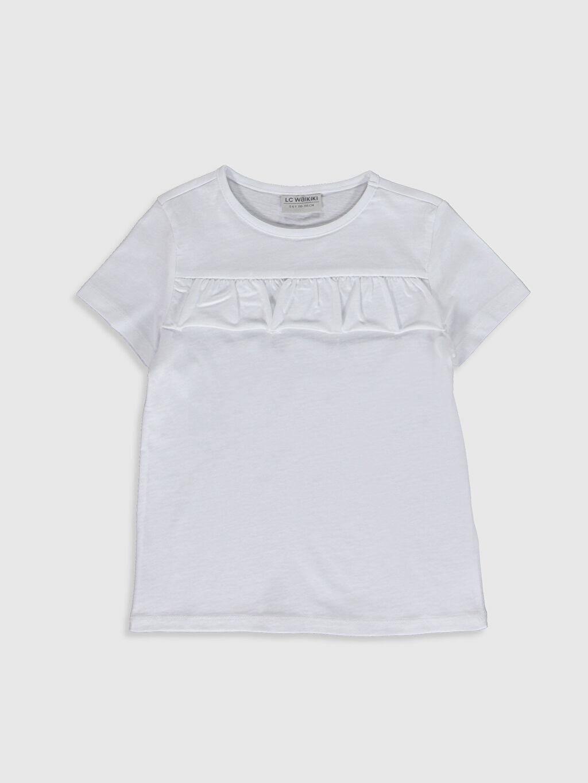 Beyaz Kız Çocuk Fırfırlı Kısa Kollu Tişört 0S9626Z4 LC Waikiki