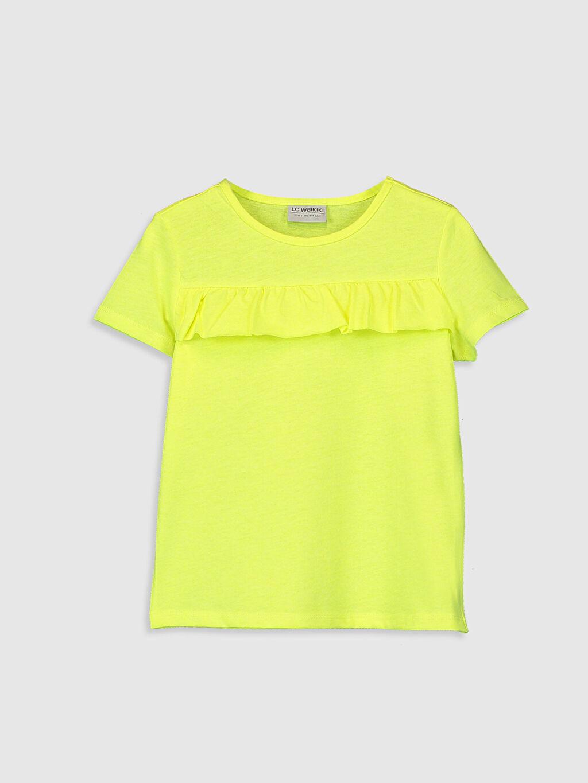Sarı Kız Çocuk Fırfırlı Kısa Kollu Tişört 0S9626Z4 LC Waikiki