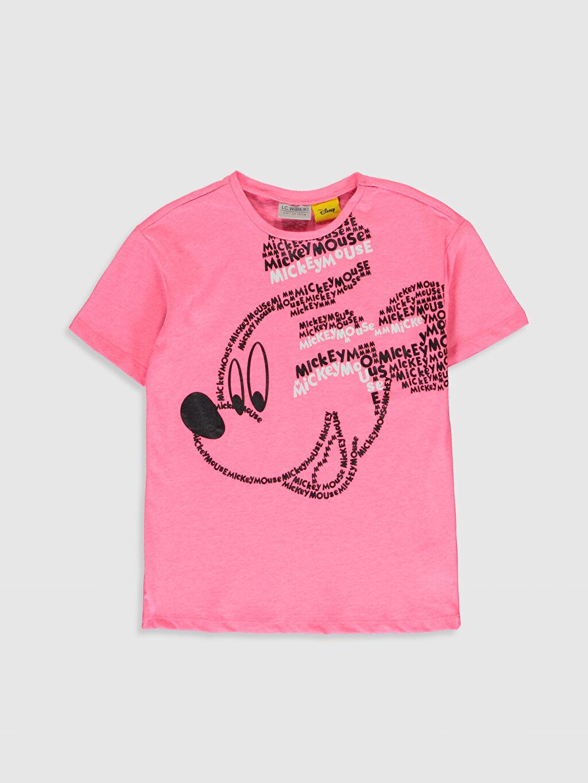 Pembe Kız Çocuk Mickey Mouse Baskılı Pamuklu Tişört 0S9637Z4 LC Waikiki