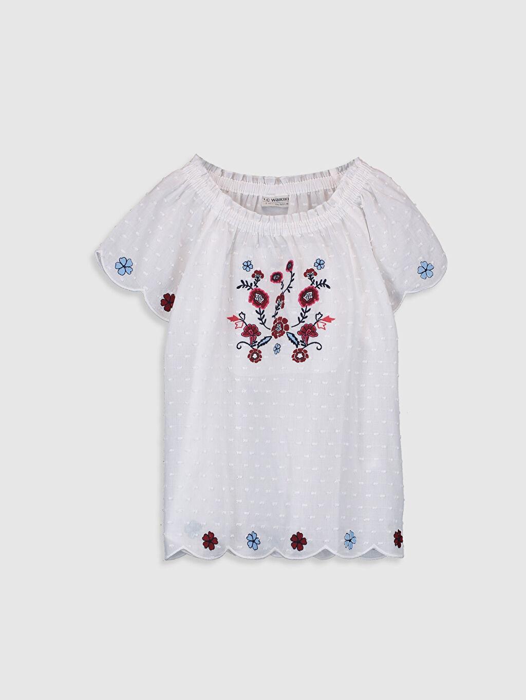 Beyaz Kız Çocuk Çiçek Nakışlı Bluz 0S9651Z4 LC Waikiki