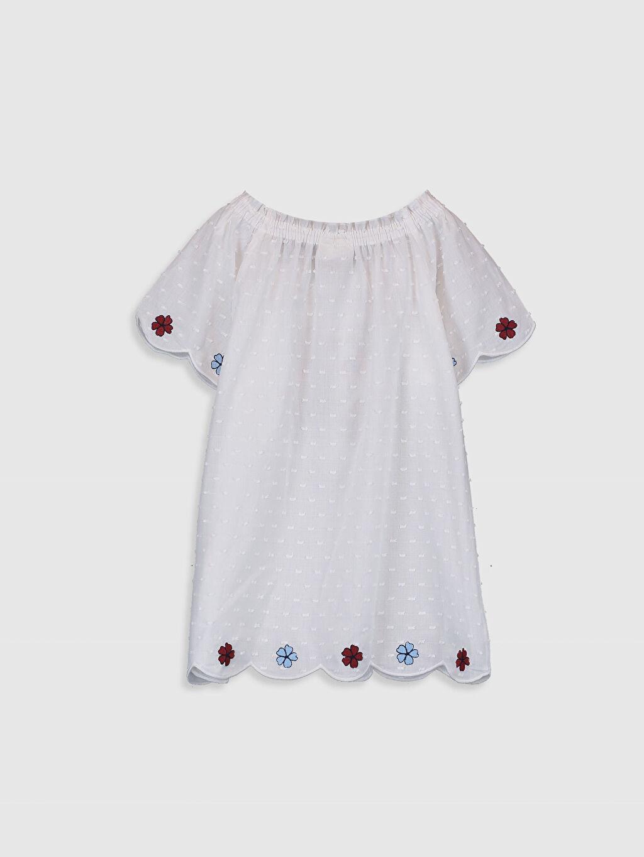 %100 Pamuk Standart Desenli Kısa Kol Bluz Kız Çocuk Çiçek Nakışlı Bluz