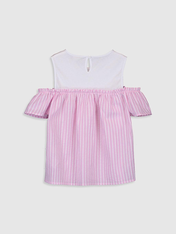 %100 Pamuk Standart Çizgili Kısa Kol Bluz Kız Çocuk Omuzu Açık Poplin Bluz